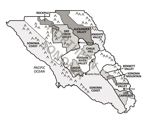 Sonoma County and its wine regions.