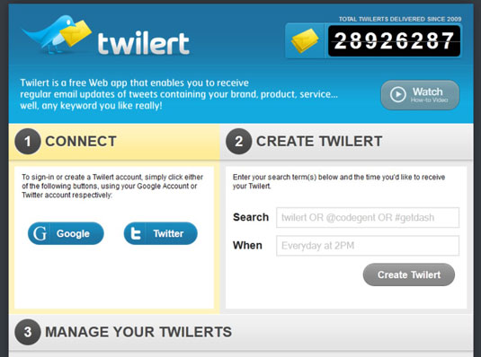 Type your search words and let Twilert know what time you'd like the report.