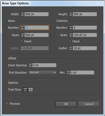 The Area Type Options dialog box lets you create columns of text.