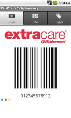 Cardstar allows someone to store bar codes and scan them at the register.