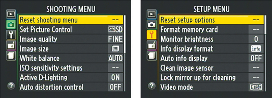 Choose the Reset option to return to the default settings for the respective menu.