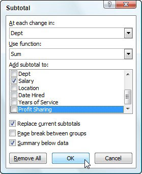 Use the Subtotal dialog box to specify the options for the subtotals.