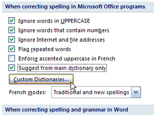 check box in word. Dictionary Only check box.
