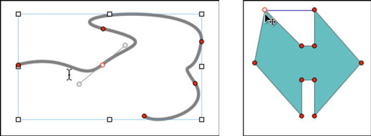 A Bézier curve being edited (left) and a predefined shape being edited (right).