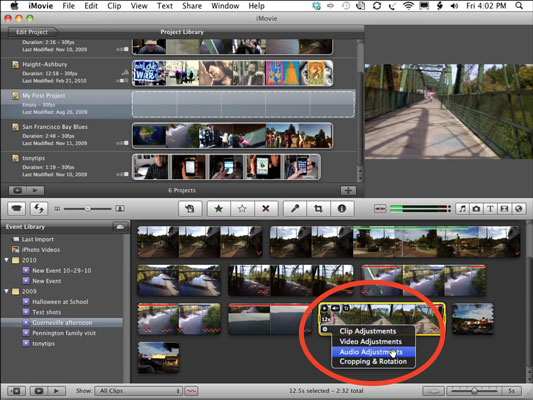Choose Audio Adjustments from the Clip Adjustments menu.