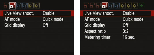 Enable Live View either on Shooting Menu 2 (left) or 4 (right), depending on your exposure mode.
