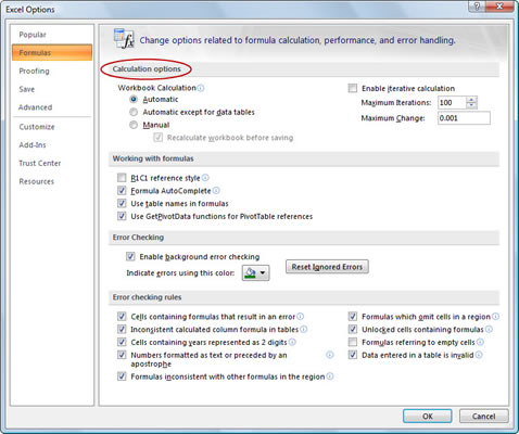 Use the Excel Options dialog box to set additional recalculation options.