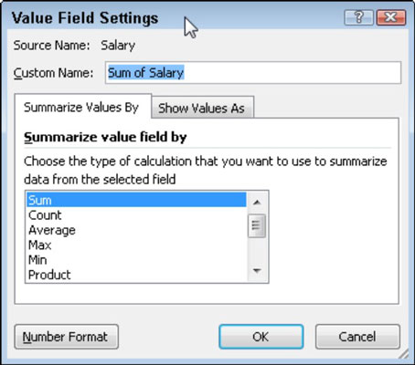 Select a new summary function in the Value Field Settings dialog box.