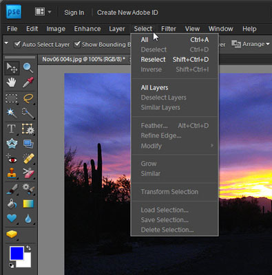 The Select menu in Photoshop Elements.
