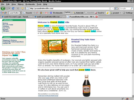 This Web page needlessly repeats the keyword <i>peanut butter</i>. Not only is this bad writing, bu