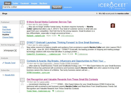 Results of a blog search on IceRocket.