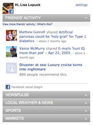 This website module displays the recent Facebook feeds of the user's friends.