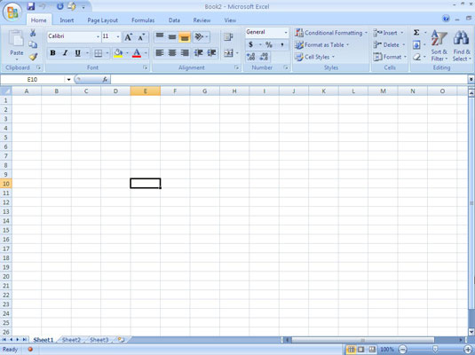 A black border surrounds the active cell in an Excel 2007 worksheet.