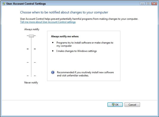 Change the UAC setting in the User Account Control Settings dialog box.