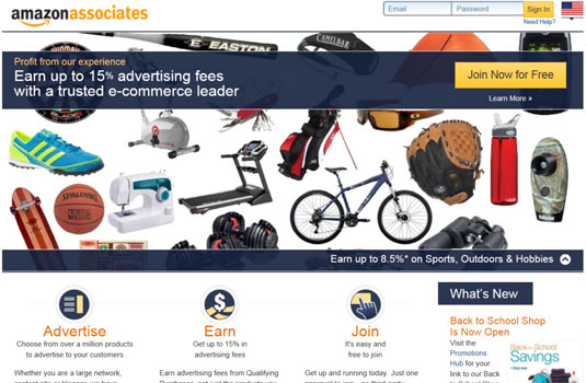 Amazon Associates home page for the affiliate program.