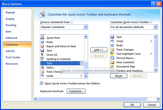 Figure 6: Adding the Style dropdown list to the Quick Access toolbar
