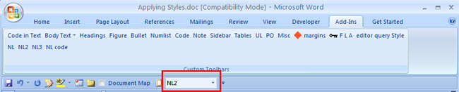 Figure 7: The Style dropdown list on the Quick Access toolbar
