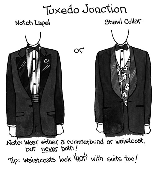 Figure 2 Tuxedos come in several styles and are easily updated with