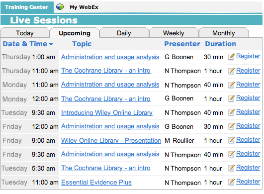 Wiley Online Library Webex Schedule