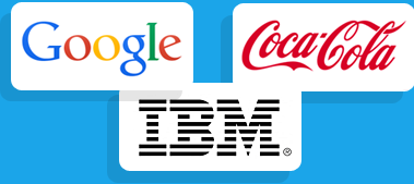 Logos from example clients: Google, Coca-Cola, IBM