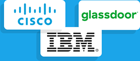 Logos from example clients: Cisco, IBM, Glassdoor