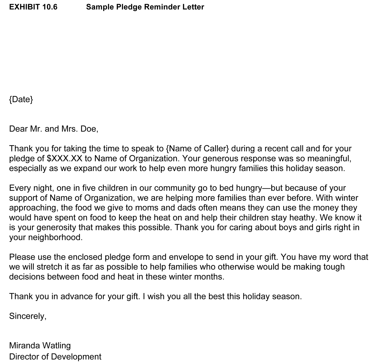 how to write a pledge letter