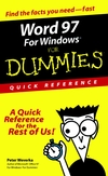 Word 97 for Windows for Dummies : Quick Reference (0764500708) cover image