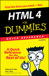 HTML 4 For Dummies®: Quick Reference, 2nd Edition (0764507214) cover image