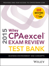 Wiley CPAexcel Exam Review 2015 Test Bank: Business Environment and Concepts (1118917820) cover image