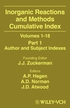 Inorganic Reactions and Methods, Cumulative Index: Volumes 1 - 19; Part 1, Author and Subject Indexes (0471327123) cover image