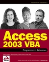 Access 2003 VBA Programmer's Reference (0764559036) cover image