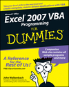 Excel 2007 VBA Programming For Dummies (0470046740) cover image