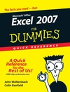 Excel 2007 For Dummies Quick Reference (0470106840) cover image