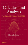 Calculus and Analysis: A Combined Approach  (0470617950) cover image