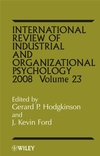 International Review of Industrial and Organizational Psycholog, 2008 Volume 23 (0470515953) cover image