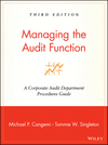 Managing the Audit Function: A Corporate Audit Department Procedures Guide, 3rd Edition (0471281190) cover image