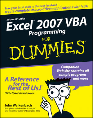 Excel 2007 VBA Programming For Dummies (1118050800) cover image