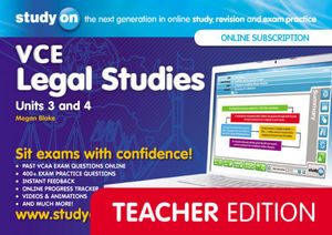 StudyON VCE Legal Studies Units 3 and 4 Teacher Edition (Online Purchase)