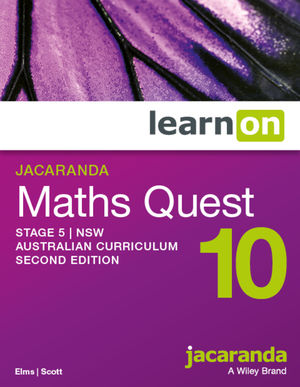 Jacaranda Maths Quest 10 Stage 5 2e NSW Australian curriculum learnON (Codes Emailed)