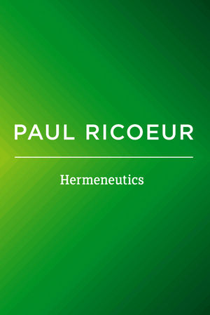 Hermeneutics: Writings and Lectures (0745661211) cover image