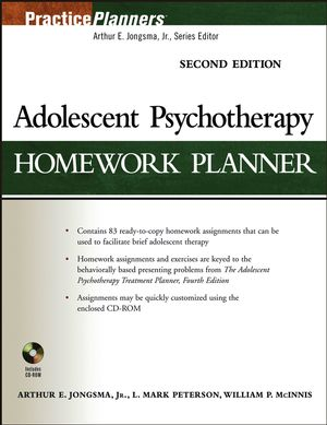 Adolescent Psychotherapy Homework Planner, 2nd Edition (1118046412) cover image