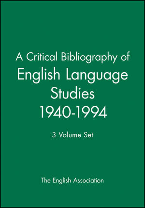 A Critical Bibliography of English Language Studies 1940-1994: 3 Volume Set (0631209425) cover image