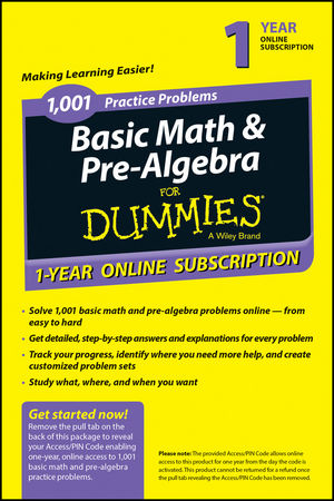1,001 Basic Math & Pre-Algebra Practice Problems For Dummies Access Code Card (1-Year Subscription) (1118843835) cover image