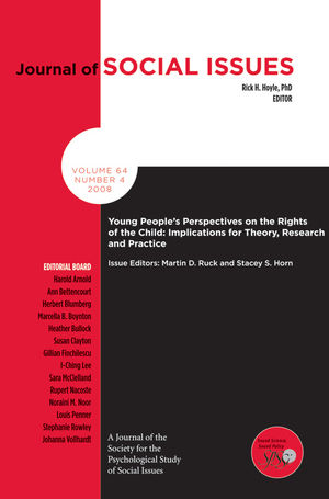 Young Peoples Perspectives on the Rights of the Child: Implications for Theory, Research and Practice (1405194340) cover image