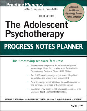 The Adolescent Psychotherapy Progress Notes Planner, 5th Edition (1118816641) cover image