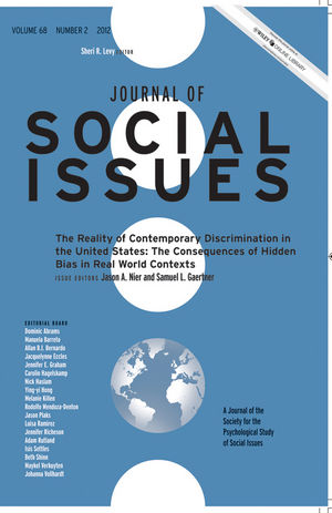 Journal of Social Issues, Volume 68, Number 2, 2012, The Reality of Contemporary Discrimination in the United States: The Consequences of Hidden Bias in Real World Contexts (1118492242) cover image