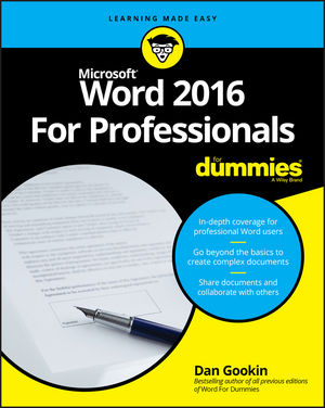 Word 2016 For Professionals For Dummies (1119286042) cover image