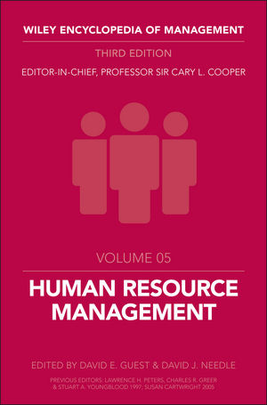 Wiley Encyclopedia of Management, Volume 5, Human Resource Management, 3rd Edition