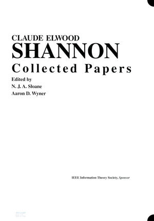 Claude E. Shannon: Collected Papers (0780304349) cover image
