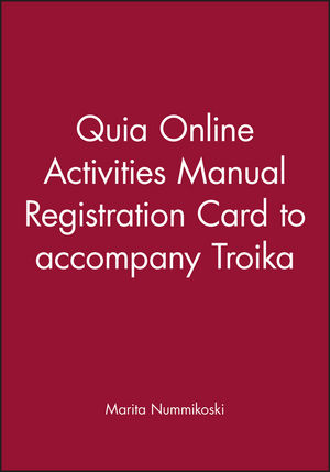 Quia Online Activities Manual Registration Card to accompany Troika